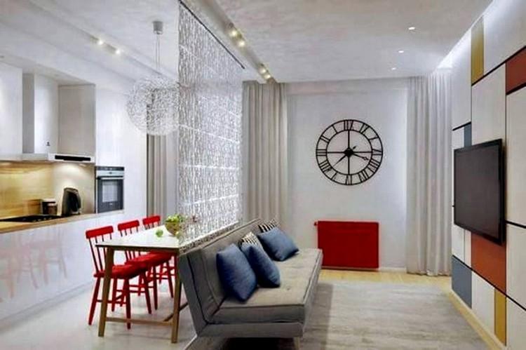 Ruang keluarga menyatu dengan ruang makan minimalis Dinding Furnitur
