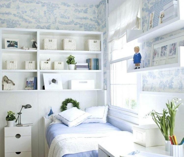 cara menghias kamar tidur yang sempit floating shelf