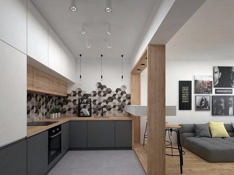 Desain dapur minimalis bentuk L yang unik