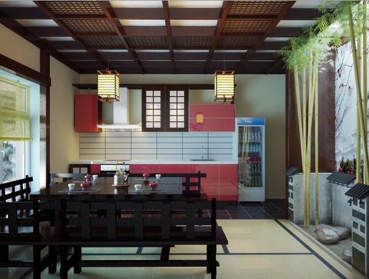 Cerah ceria warna merah di dapur bersih ala Jepang