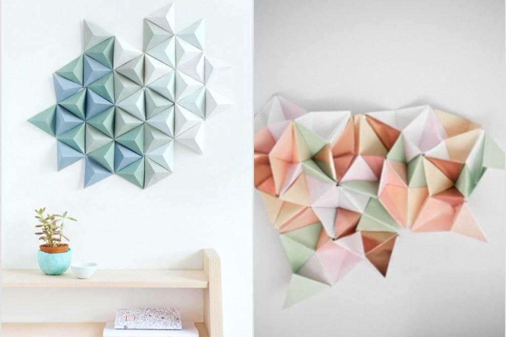 cara membuat hiasan dinding kamar dari kertas origami berbentuk piramida