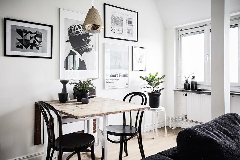 Hasil gambar untuk Desain Monokrom Ruang Keluarga Menyatu dengan Ruang Dapur