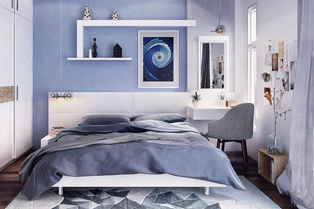 Biru warna cat interior rumah kamar tidur