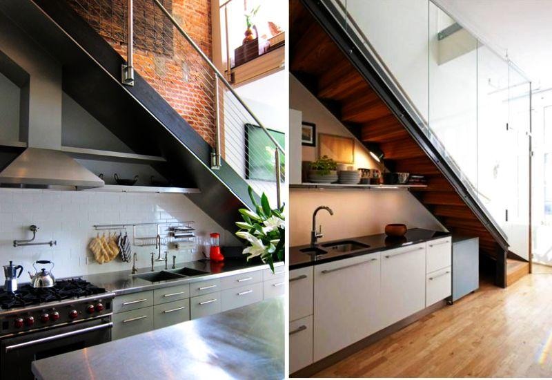 Dapur di bawah tangga dengan rak terbuka