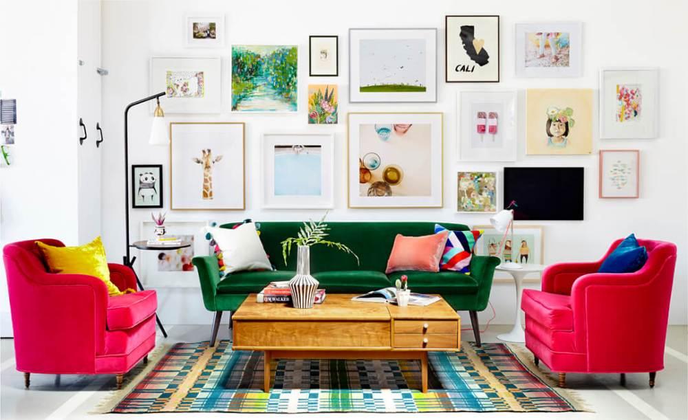 Sofa hijau dan kursi pink bahan velvet
