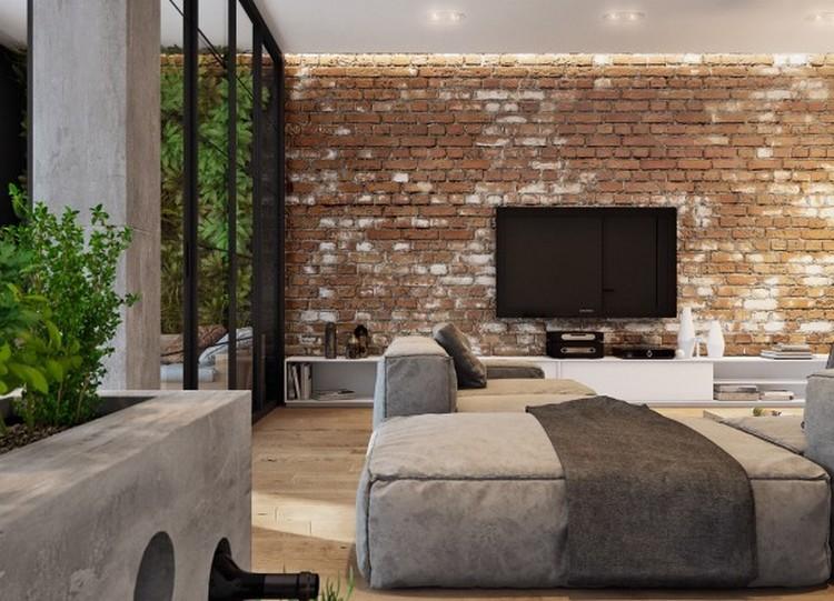 Bata ekspos berwarna natural untuk ruang keluarga