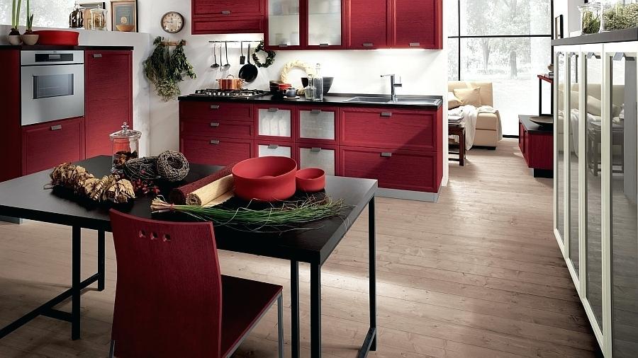 Desain Dapur Dan Ruang Makan Hitam Merah