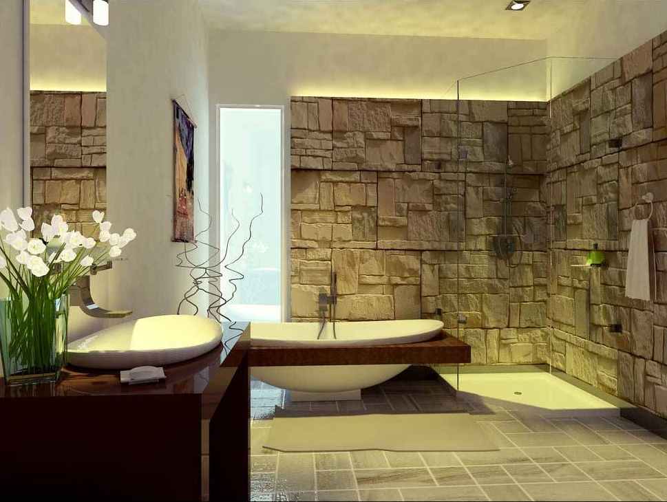 Gaya modern minimalis pada desain kamar mandi batu alam