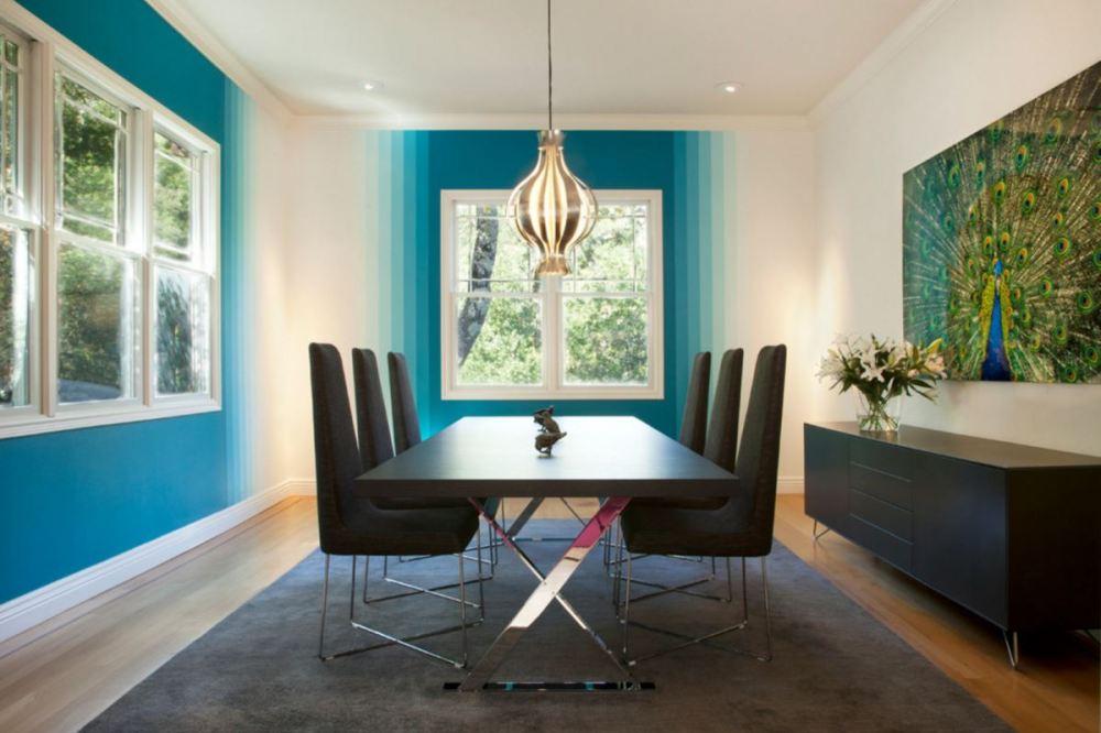 Gradasi warna hijau putih ruang makan