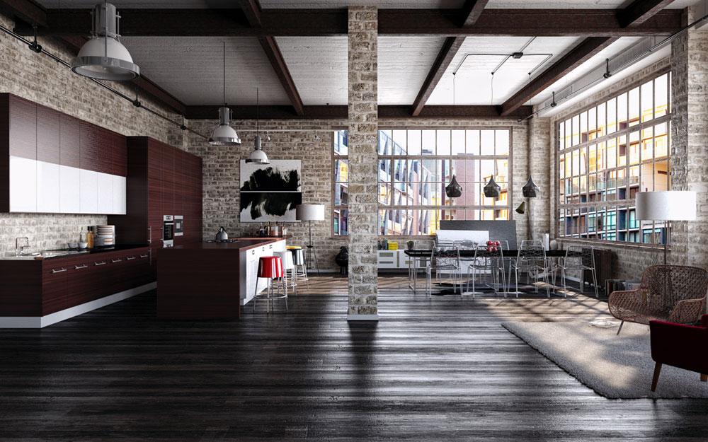 Perpaduan Kayu, Besi dan Dinding Bata di Ruang Makan