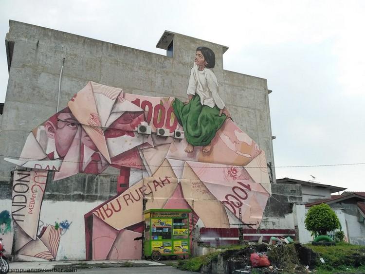 Gambar mural seorang gadis di Medan