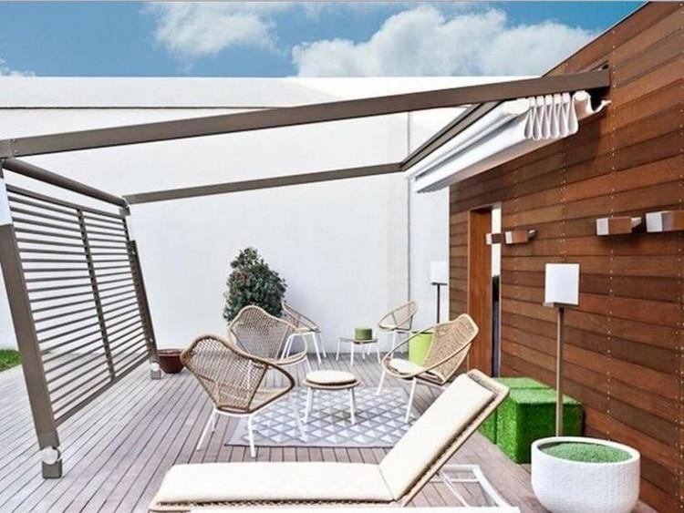 Inspirasi desain teras rumah cantik dengan atap yang fleksibel