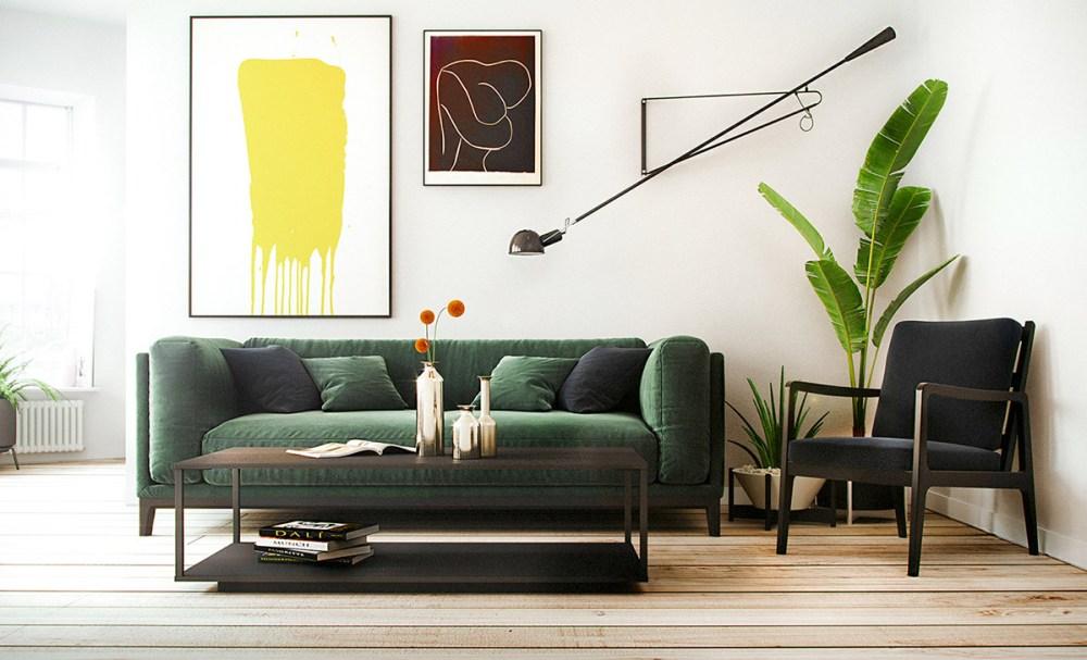 Ruang tamu minimalis dengan tanaman hias
