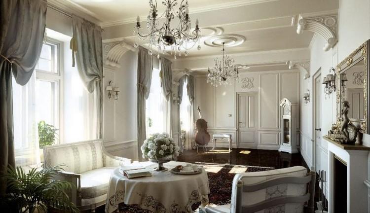 Lis plafon dengan model siku-siku untuk interior klasik