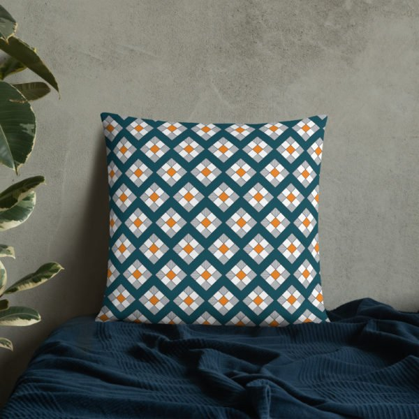 daisy blue yellow decorative throw pillow insert included
