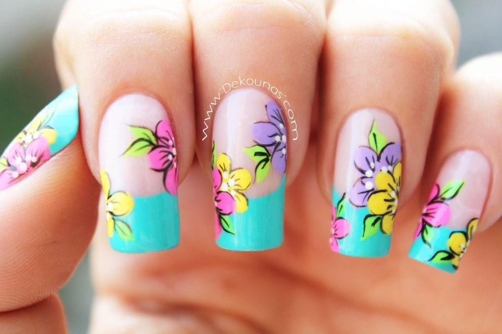 Decoración de uñas flores1-1