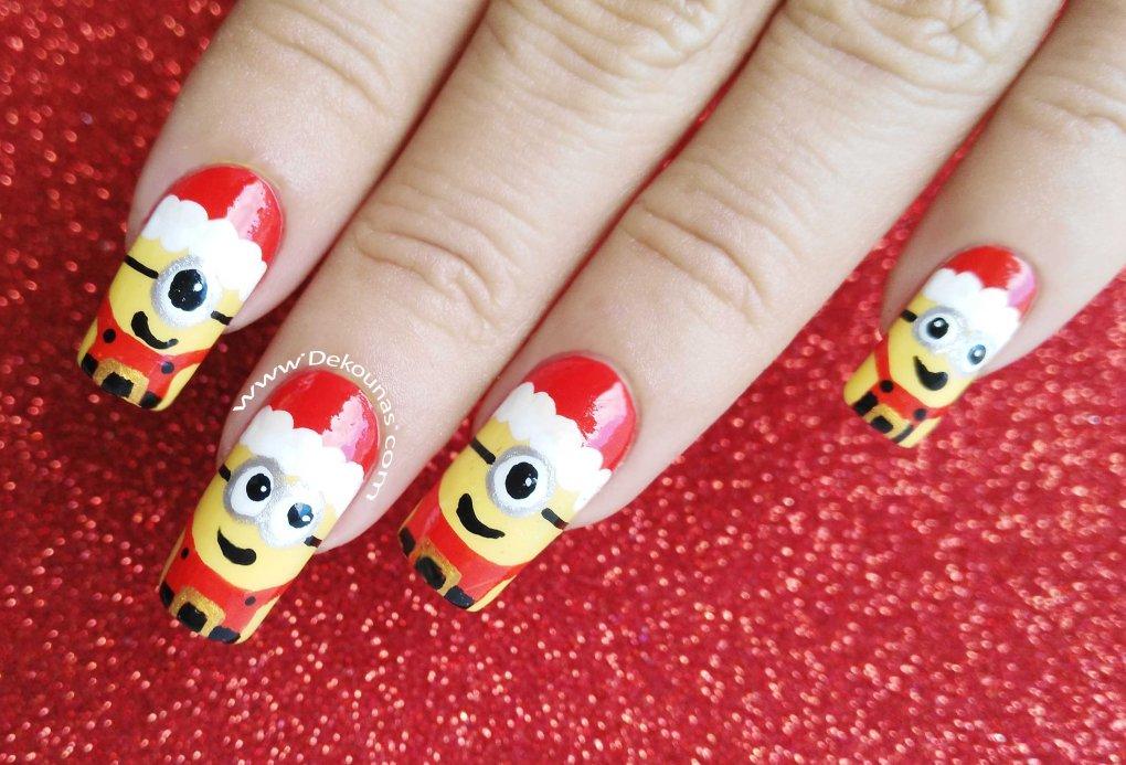 Decoración de uñas minions navidad1-1
