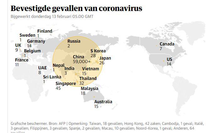 Bevestigde gevallen coronavirus geografisch
