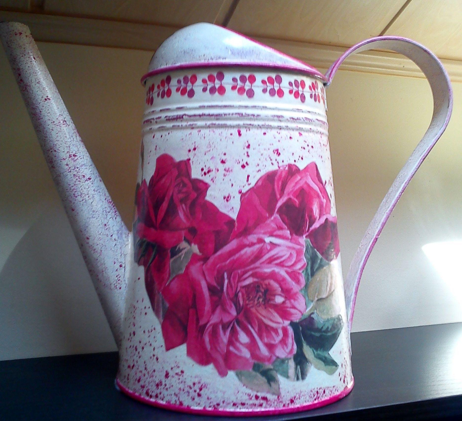 decoupage - konewki metalowe IKEA roze