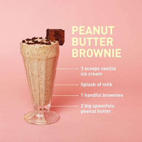 This combination of two of our favorite foods is now our favorite dessert. Blend the brownies in the shake and crumble them on top, too.