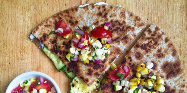 Easy Vegetarian Meals Goat Cheese Quesadillas with Zucchini and Grilled Corn Pico de Gallo