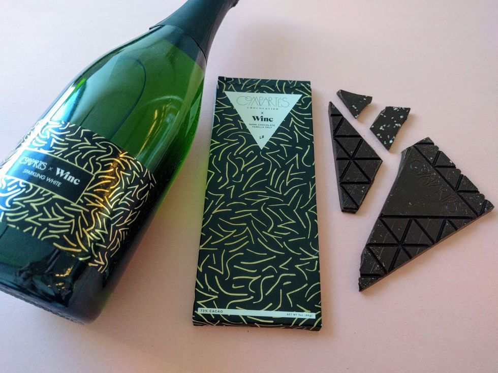 Skip the heart-shaped box and go for what she (or he) truly wants — sugar and sparkling wine. Compartés partnered with Winc to create a classy combo for the holiday, pairing a bottle of sparkling white wine with a dark chocolate bar that's studded with vanilla-infused sea salt. TryWinc.com/Compartes, $28