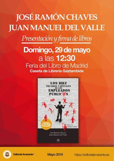 Feria del Libro de Madrid. Los diez pecados capitales de los empleados públicos 29 Mayo 2016
