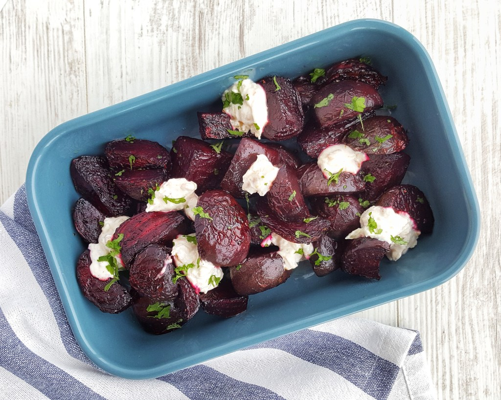 Roast Beetroot Wedges with Garlic Dip; Delalicious