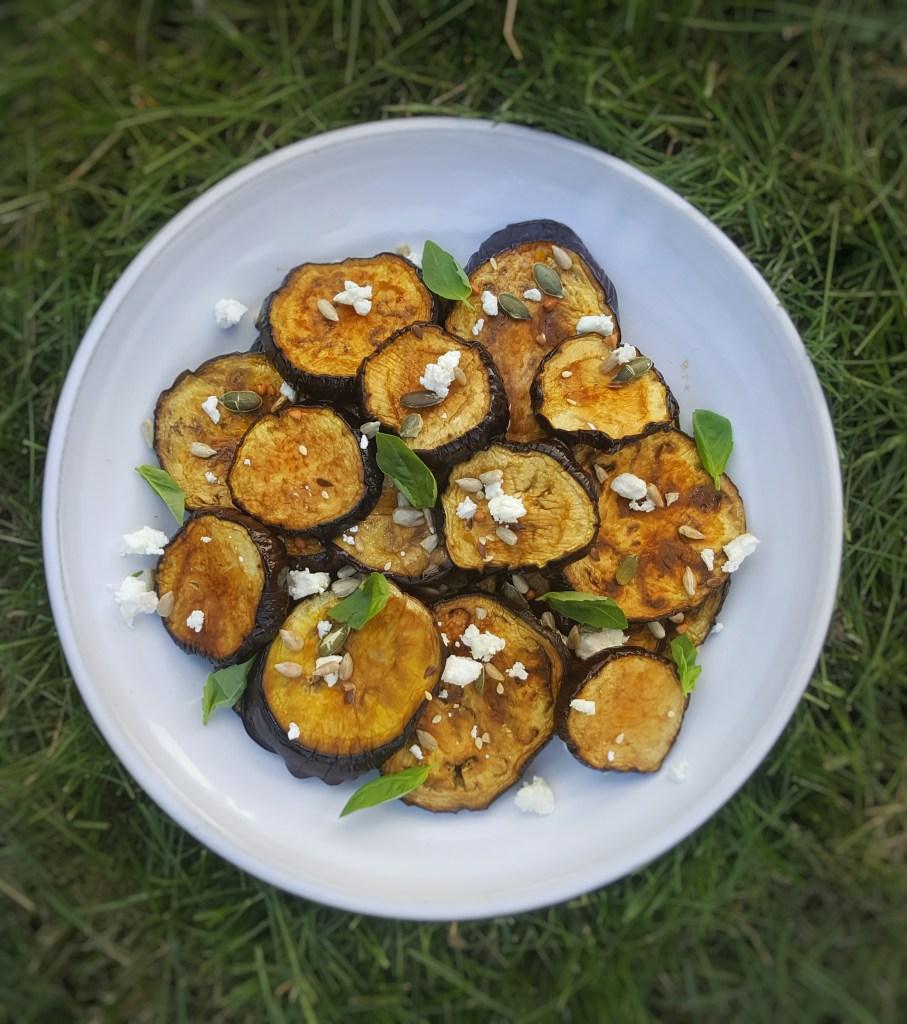 Roast Aubergine, Feta & Toasted Seeds; Delalicious