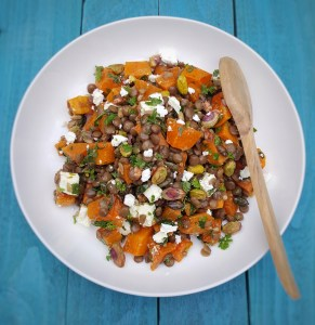 Squash, Lentil & Pistachio Salad; Delalicious
