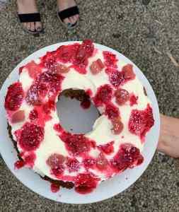 Rhubarb, Raspberry & White Chocolate Cake; Delalicious; Sinead Delahunty