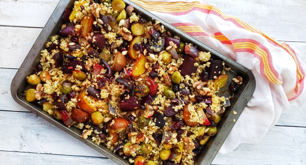 Bulgur Wheat, Sprout & Beetroot Traybake; Delalicious; Sinead Delahunty