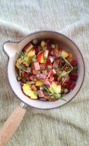 Peach, Rosemary & Rhubarb Compote; Delalicious; Sinead Delahunty