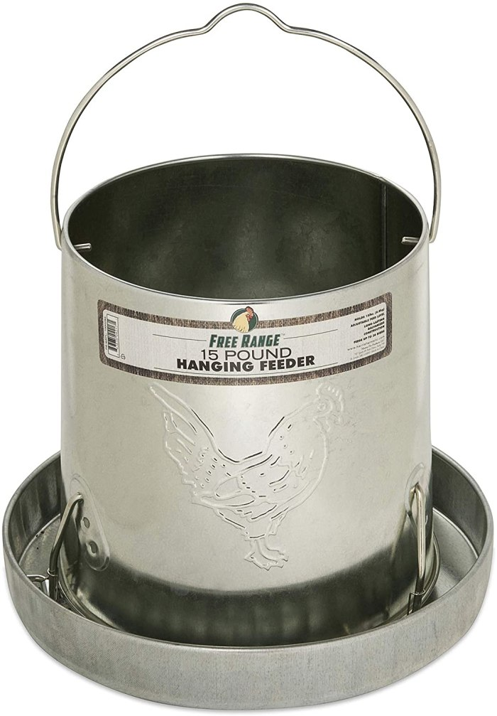 Harris Farms 1000293 Galvanized Hanging Poultry Feeder, 15 lbs, Metal
