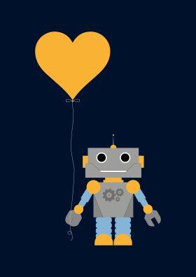 Poster van robot met ballon