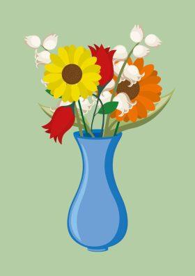 Poster van een vaas met bloemen