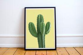 Poster Cactus gele achtergrond
