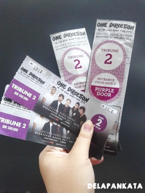 Tiket tribune 2 - One Direction (Dok. Pribadi)