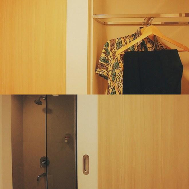 Atas-Bawah: lemari pakaian (kamar mandi tertutup), kamar mandi (lemari pakaian tertutup)
