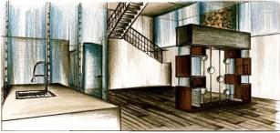 House For An Artist-First Floor Custom Book Case View