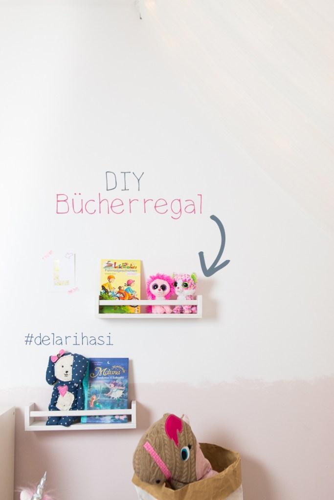 Geniale Kinderzimmer Idee - Mädchen - DIY - Bücherregal - Buchaufbewahrung - Ikea - Ikeahack - www.delari.de