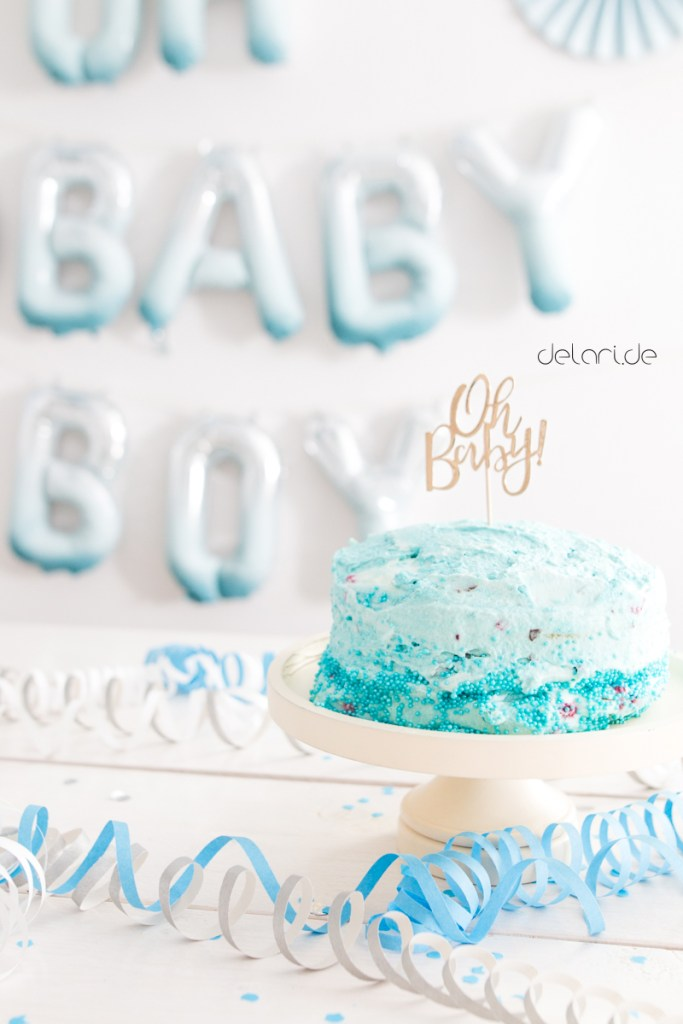 Babyshower Boy blue DIY Folienluftballons Party Torte Babyparty