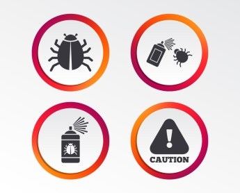 Bug spray icons to represent insect repellent safety