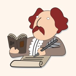 Cartoon Shakespeare reading a book and writing with a quill
