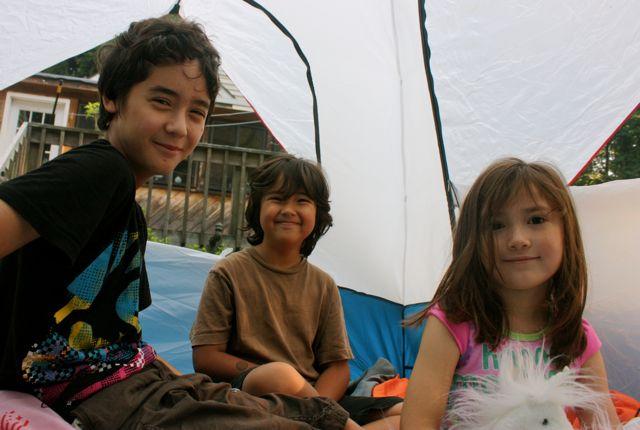 Kids backyard tent camping