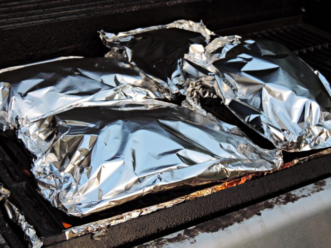 potatoes in a pouch on the grill