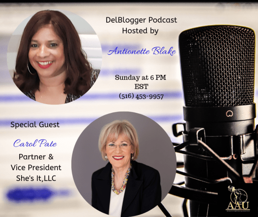 DelBlogger Podcast Interview with Dr. Carol Pate, She'sIt, LLC.