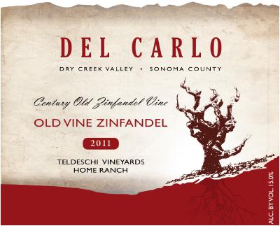 2011 Del Carlo Winery Old Vines Zinfandel label