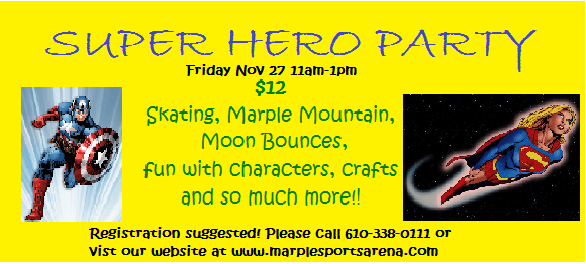 super hero party marple sports arena