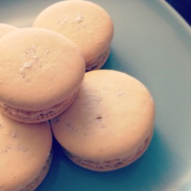 salted caramel macarons close-up